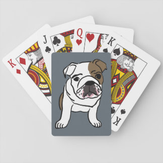 English Bulldog Puppy Pet Dogs Illustration Playing Cards