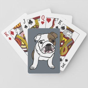 ZenPrintz English Bulldog Puppy Pet Dogs Illustration Playing Cards