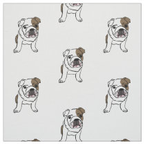 English Bulldog Puppy Print Dogs Puppies Pets Fabric
