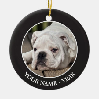 English bulldog puppy stretching down. ceramic ornament