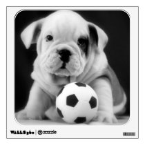 English Bulldog Puppy w/Soccer Ball Wall Sticker