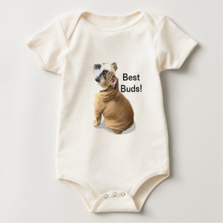 English bulldog puppy with heart design CUSTOMIZE Baby Bodysuit