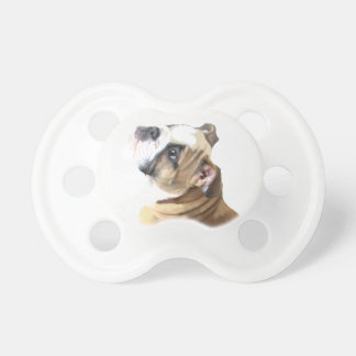 English bulldog puppy with heart design CUSTOMIZE Pacifier