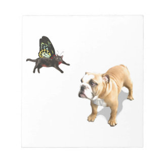 English bulldog puppy with kitten butterfly fairy. notepad