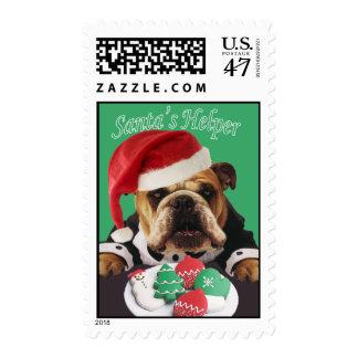 "English Bulldog ""Santa's Helper"" postage"
