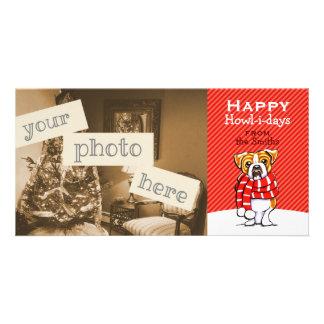 English Bulldog Scarf Christmas Modern Red Photo Greeting Card