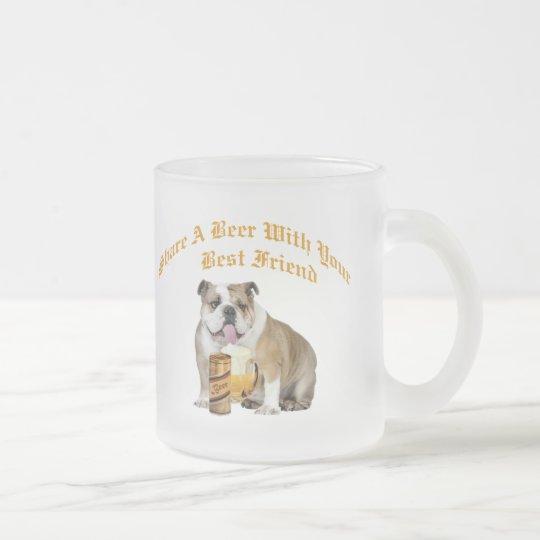 English Bulldog Shares Beer Frosted Glass Coffee Mug
