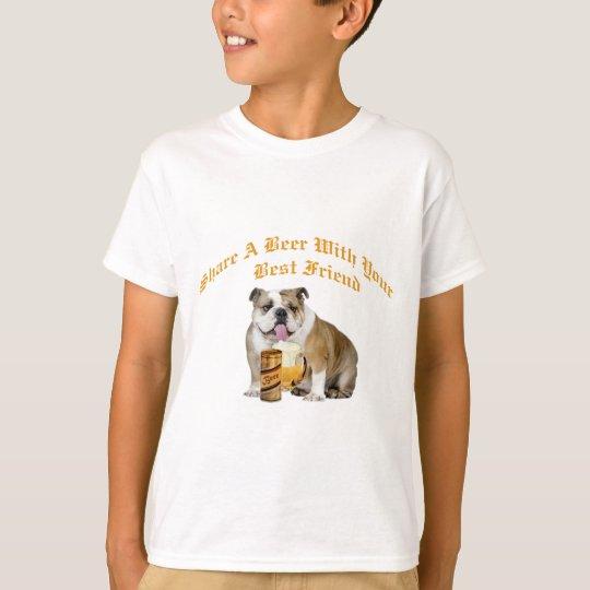 English Bulldog Shares Beer T-Shirt