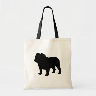 English Bulldog Silhouette Canvas Bags