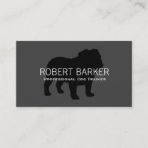 English Bulldog Silhouette Black on Grey Business Card