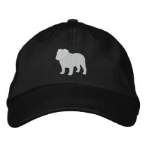 English Bulldog Silhouette Embroidered Baseball Cap