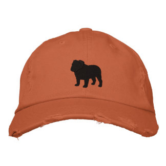 English Bulldog Silhouette Embroidered Baseball Hat
