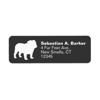 English Bulldog Silhouette Label