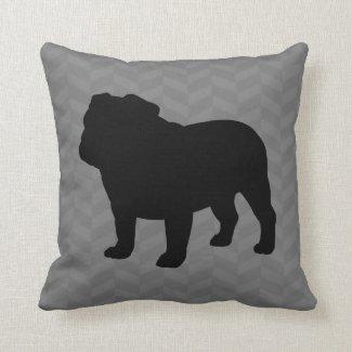 English Bulldog Silhouette on Grey Herringbone Throw Pillow