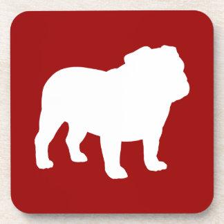 English Bulldog Silhouette on Red (Customizable) Coaster