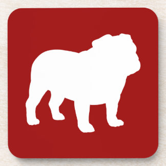 English Bulldog Silhouette on Red Customizable Drink Coasters