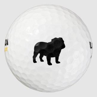 English Bulldog Silhouette Pack Of Golf Balls