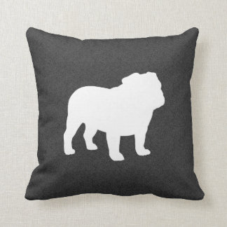 English Bulldog Silhouette Throw Pillow