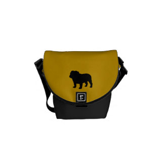 English Bulldog Silhouette with Custom Colors Courier Bags