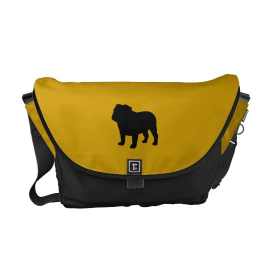 English Bulldog Silhouette with Custom Colors Messenger Bag