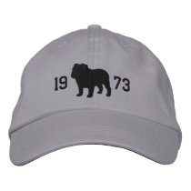 English Bulldog Silhouette with Custom Text Embroidered Baseball Cap