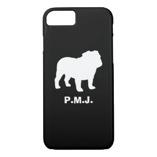 English Bulldog Silhouette with Custom Text iPhone 8/7 Case