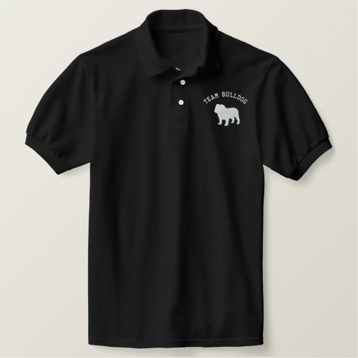 English Bulldog Silhouette with Customizable Text Embroidered Polo Shirt