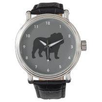 English Bulldog Silhouette Wrist Watch