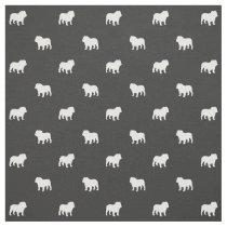 English Bulldog Silhouettes Pattern Fabric