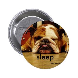 english-bulldog, sleep pinback button