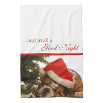 English Bulldog Snoozing Christmas Kitchen Towel