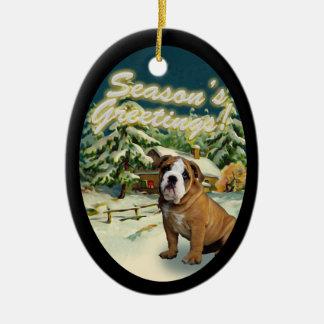 English Bulldog Snow Cabin Christmas Ornament