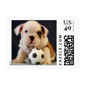 English Bulldog Soccer Puppy Postage Stamps