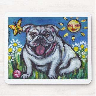 English Bulldog sun smile Mouse Pad