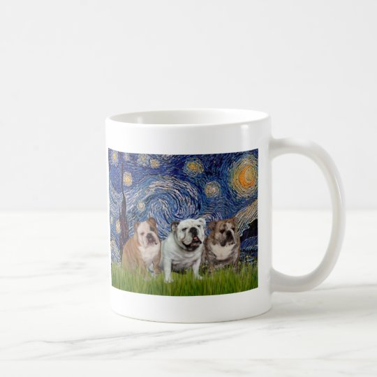 English Bulldog Trio - Starry Night Coffee Mug