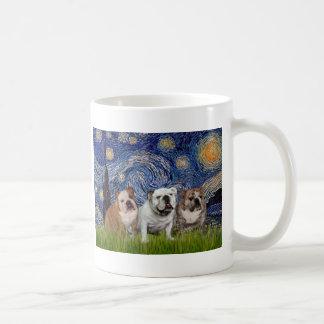 English Bulldog Trio - Starry Night Mugs