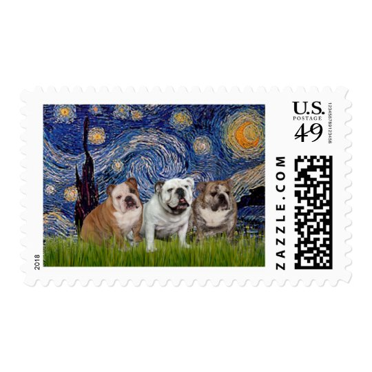 English Bulldog Trio - Starry Night Postage