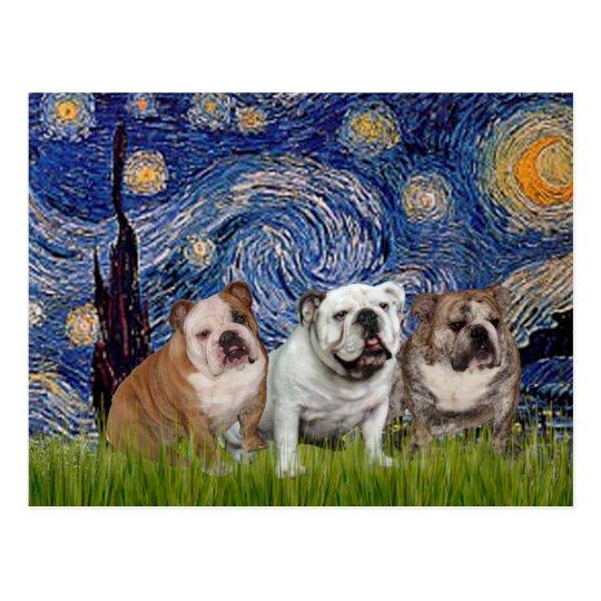 English Bulldog Trio - Starry Night Postcard