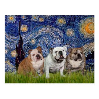 English Bulldog Trio - Starry Night Postcards