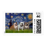 English Bulldog Trio - Starry Night Stamps