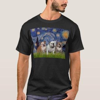 English Bulldog Trio - Starry Night T-Shirt