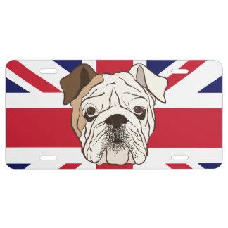 English Bulldog & Union Jack License Plate