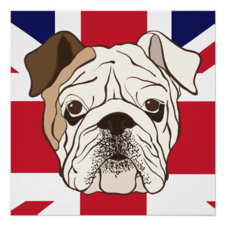 English Bulldog & Union Jack Perfect Poster