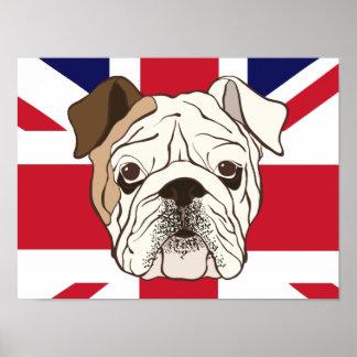 English Bulldog & Union Jack Poster