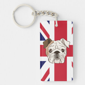 English Bulldog & Union Jack Rectangular Keychain