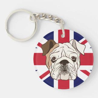 English Bulldog & Union Jack Round Keychain