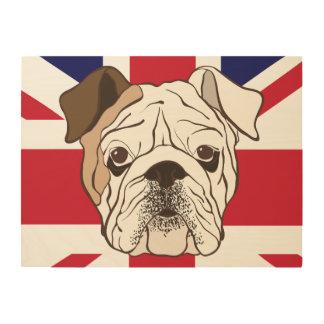 English Bulldog & Union Jack Wood Canvas