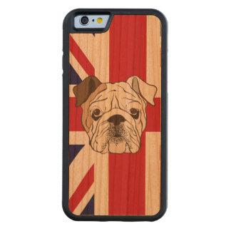 English Bulldog & Union Jack Wood Phone Case