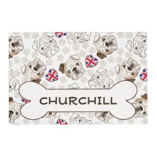 English Bulldog & Union Jacks Pet Bowl Mat