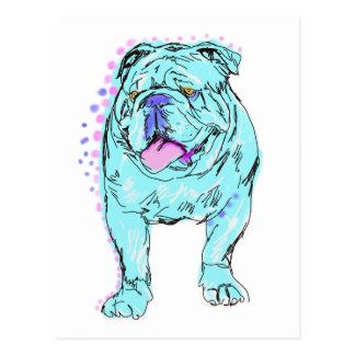 English Bulldog unique colorful pop dog art Postcard